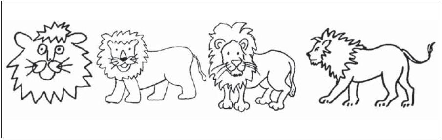 """Příklad proměn obrázku """"lev"""" od první do poslední sady obrázků."""