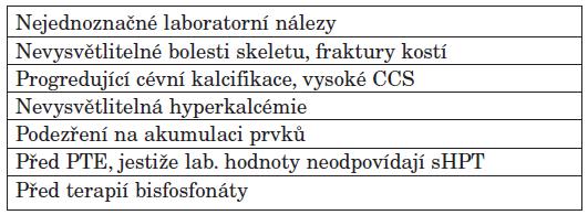Indikace k histomorfometrickému vyšetření dle doporučení KDIGO.