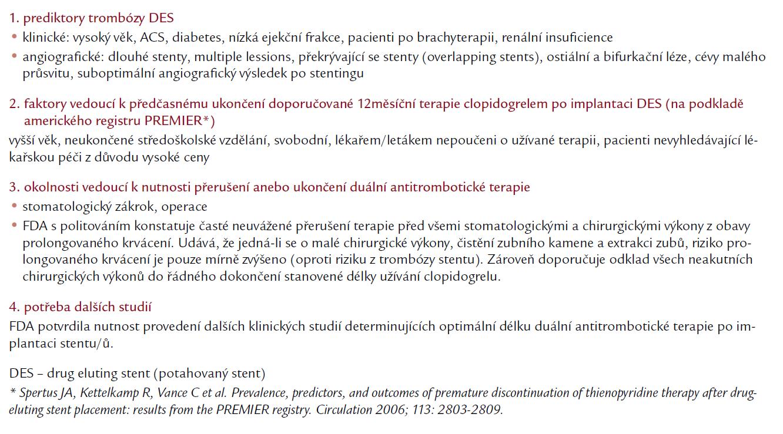 Hlavní závěry meetingu FDA z prosince roku 2006.