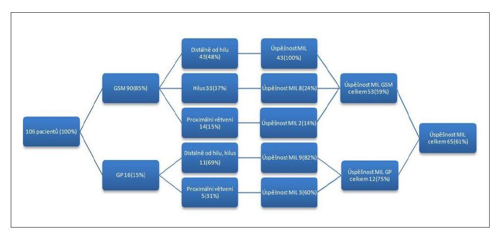Schéma o úspěšnosti miniinvazivní léčby v lokální anestezii.