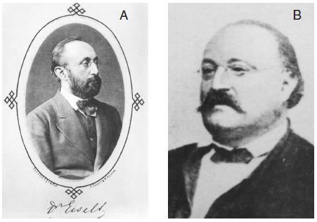 První redaktoři Časopisu lékařů českých Bohumil Eiselt (A) a Josef V. Podlipský (B)