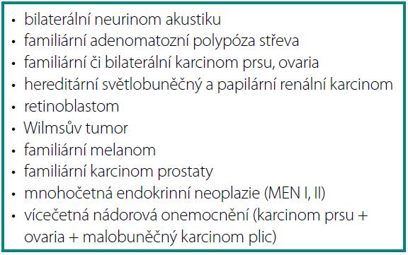 Příklady geneticky determinovaných onkologických onemocnění Table 1. Examples of genetically determined oncological diseases