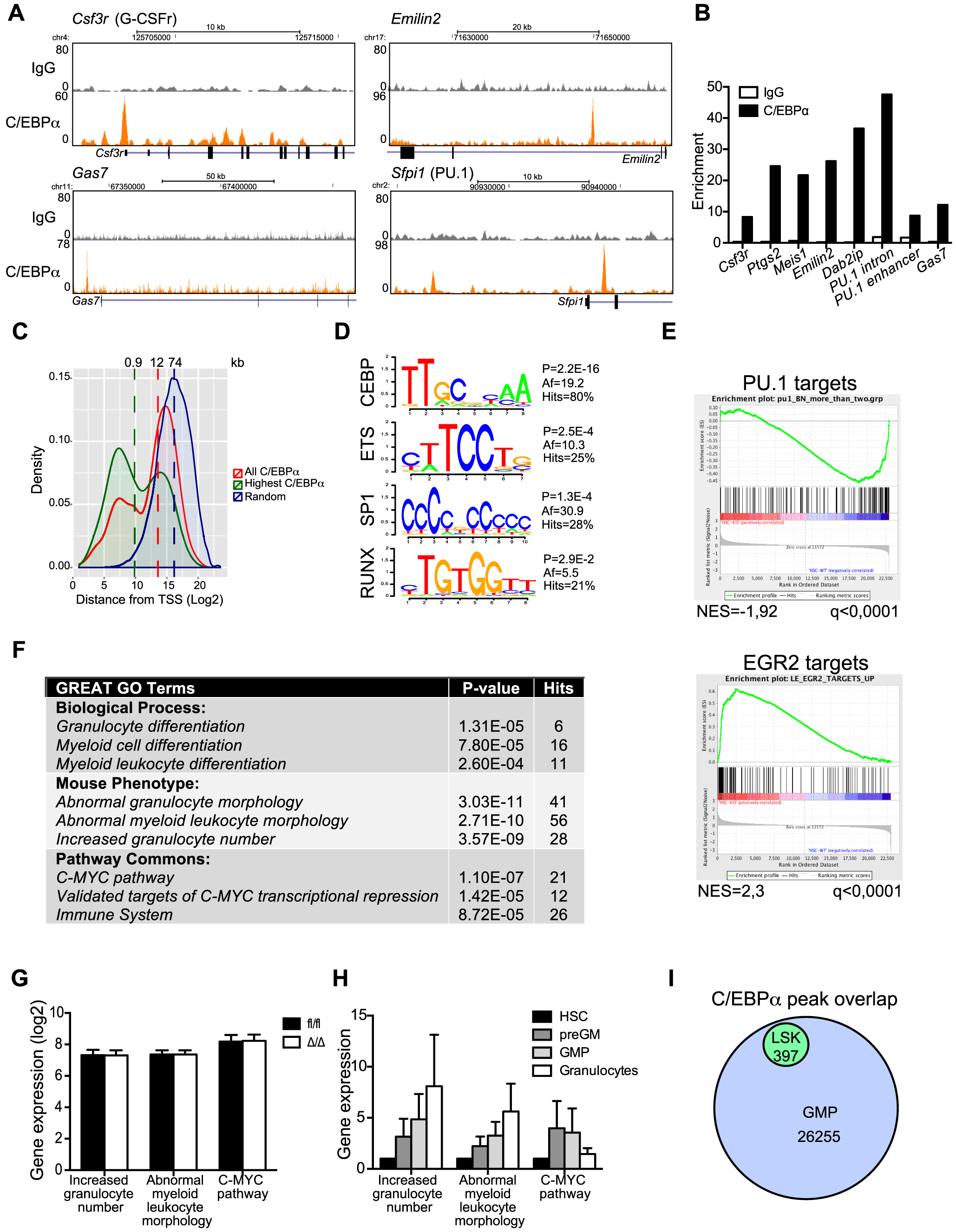 ChIP-seq analysis of C/EBPα binding in LSK cells.
