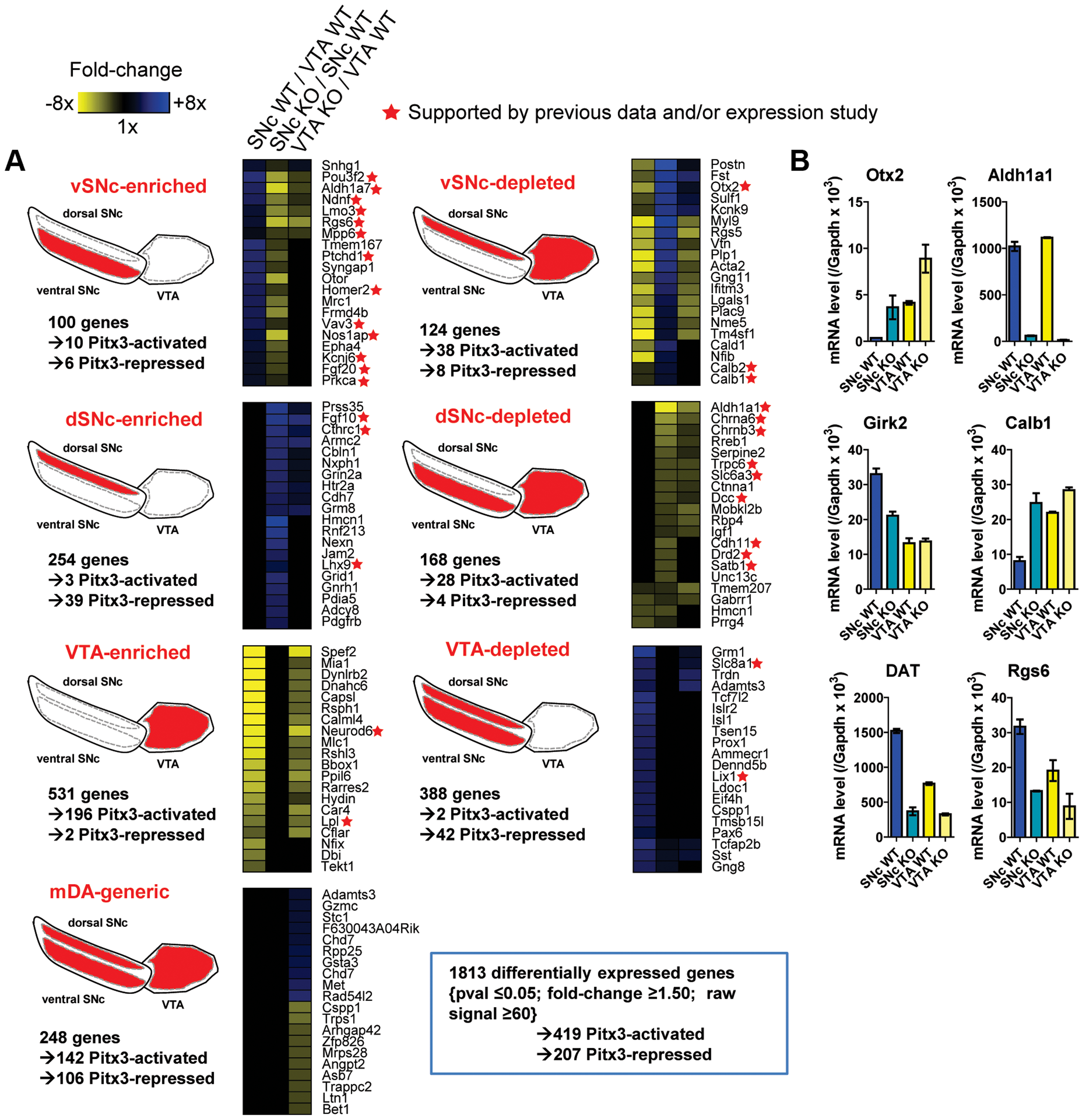 Subset-specific expression signatures of mDA neurons.