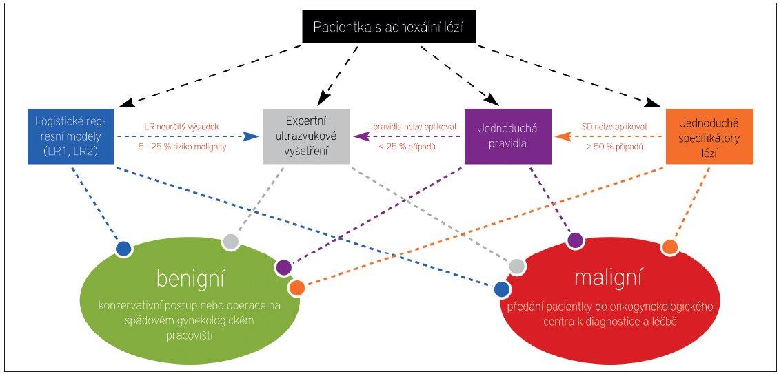 Schéma 4 Algoritmus předoperačního postupu u ženy s ovariální lézí