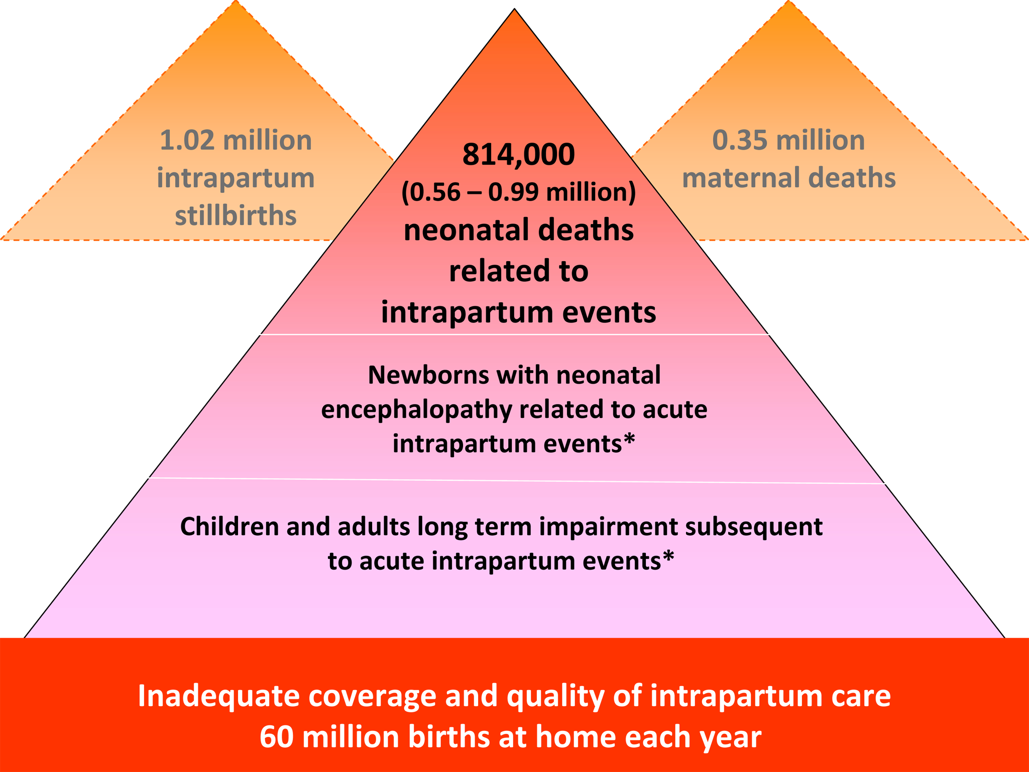 The burden of intrapartum-related neonatal deaths, intrapartum stillbirths, maternal deaths, and the unknown associated burden of neonatal morbidity and disability.