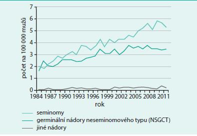 Vývoj incidence podle morfologických typů ZN varlete (C62) v ČR. Zpracováno podle: Národní onkologický registr, ÚZIS ČR.