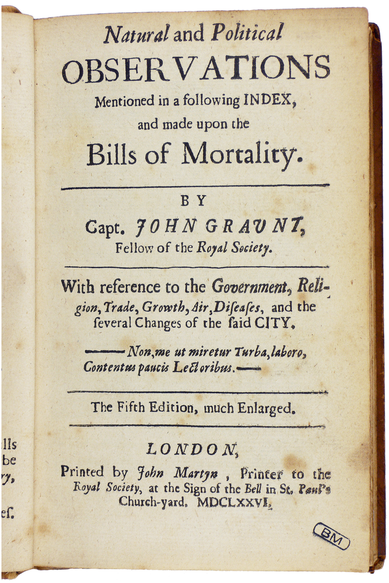"""""""Bills of Mortality"""" for London, published by John Graunt in 1676."""