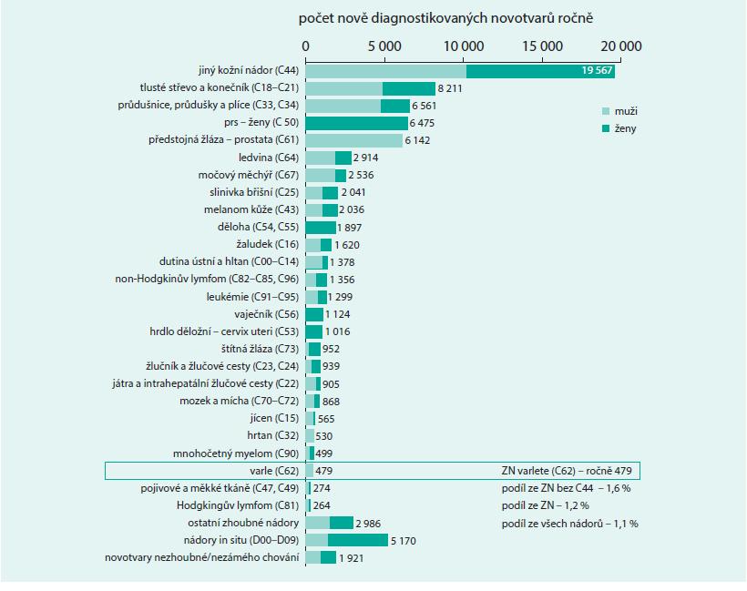 Incidence novotvarů v ČR v období 2007–2011. Zpracováno podle: Národní onkologický registr, ÚZIS ČR.