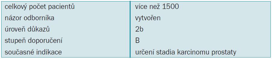 Tab. 3.13. Pánevní lymfadenektomie: doporučení.