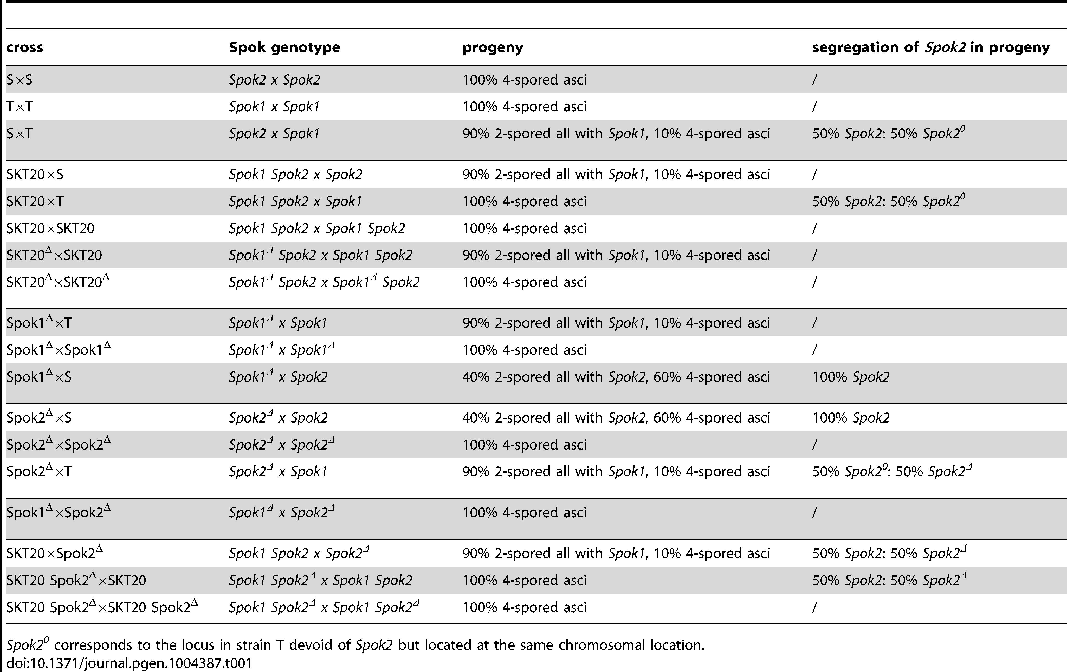 Progeny analysis of Spok crosses.