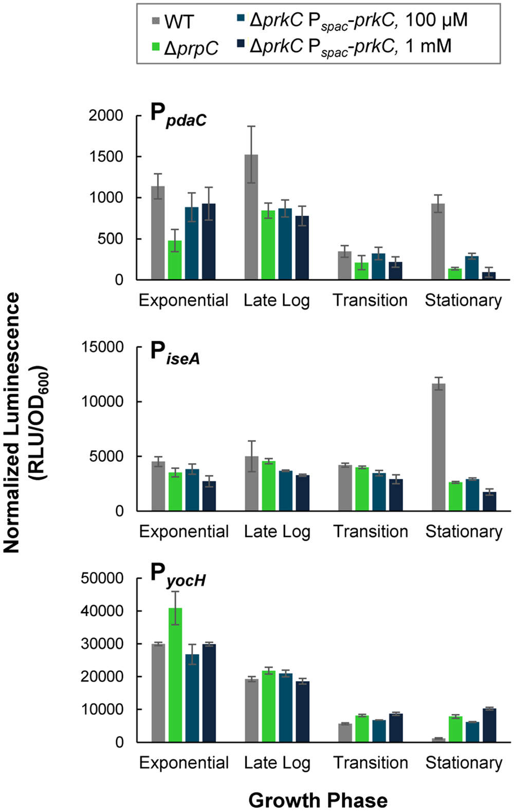 PrkC overexpression phenocopies Δ<i>prpC</i> effects on expression of WalR regulon genes.