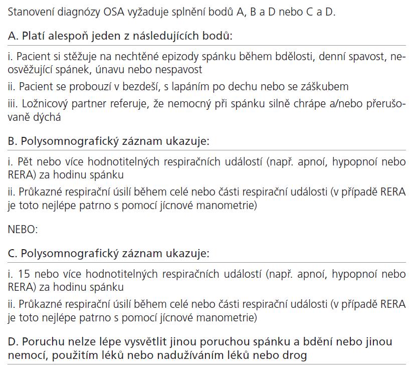 Diagnostická kritéria obstrukční spánkové apnoe (OSA) dle ICSD 2 [12].