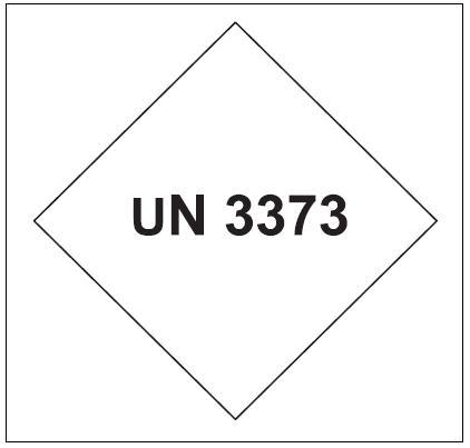 Značka UN 3373 pro označení kategorie B Fig. 3. Hazard label for infectious substances if packaged with dry ice