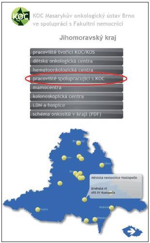 """Interaktivní mapa sítě KOC (<a href=""""http://www.onconet.cz"""">www.onconet.cz</a>). Ve vybraném kraji návštěvník vybere typ zdravotnického zařízení a portál zpřístupní konkrétní pracoviště s podrobnějšími informacemi."""