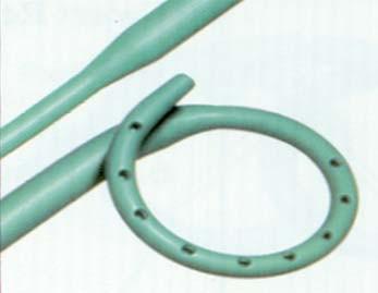 6. Endoureterotomický stent. Materiál: C-Flex, Ultrathan. Pro incizi striktury – dvě různé části s různými průměry.
