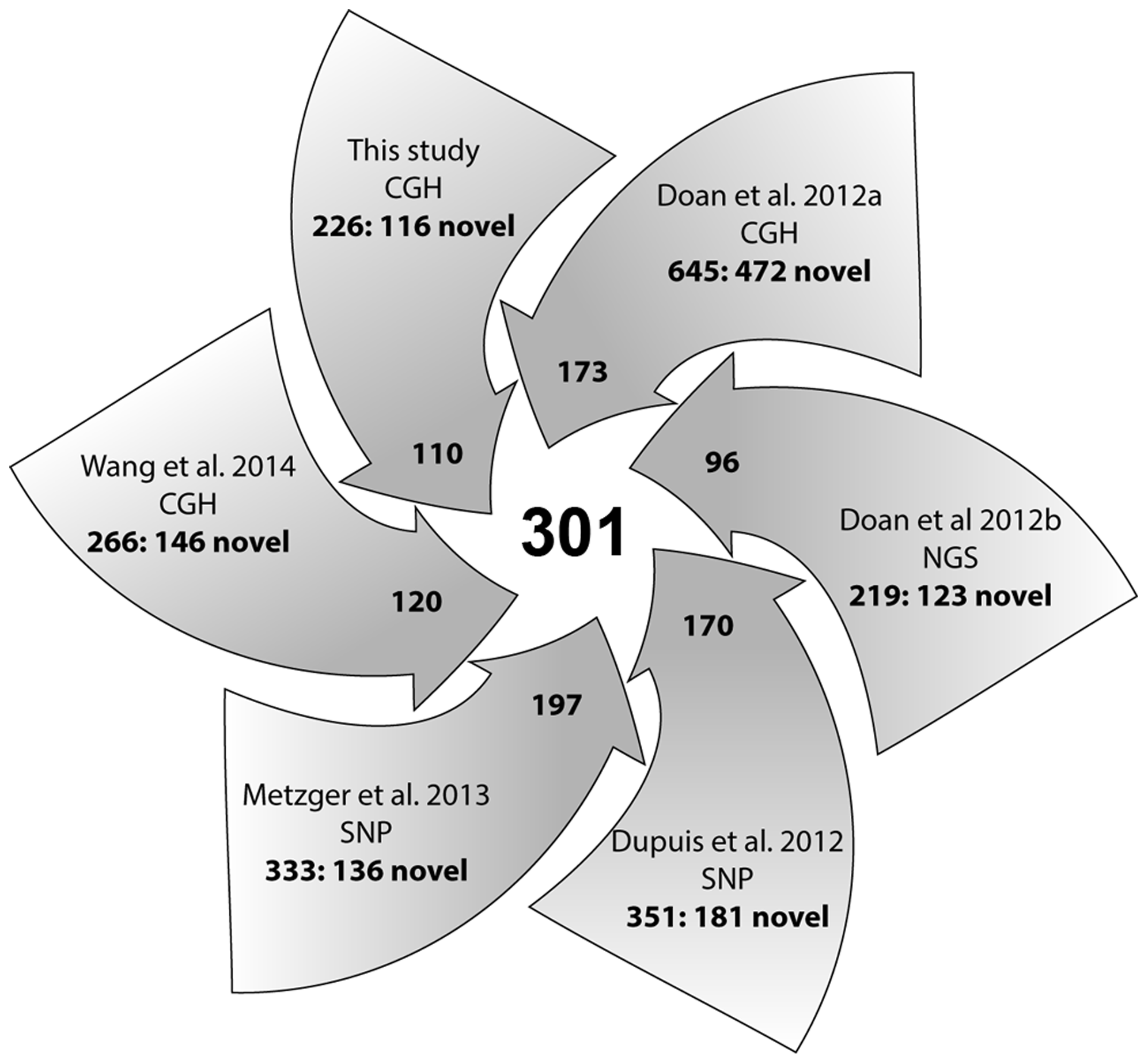 A summary diagram of all CNV studies in horses and their contribution to the integrated CNV dataset.
