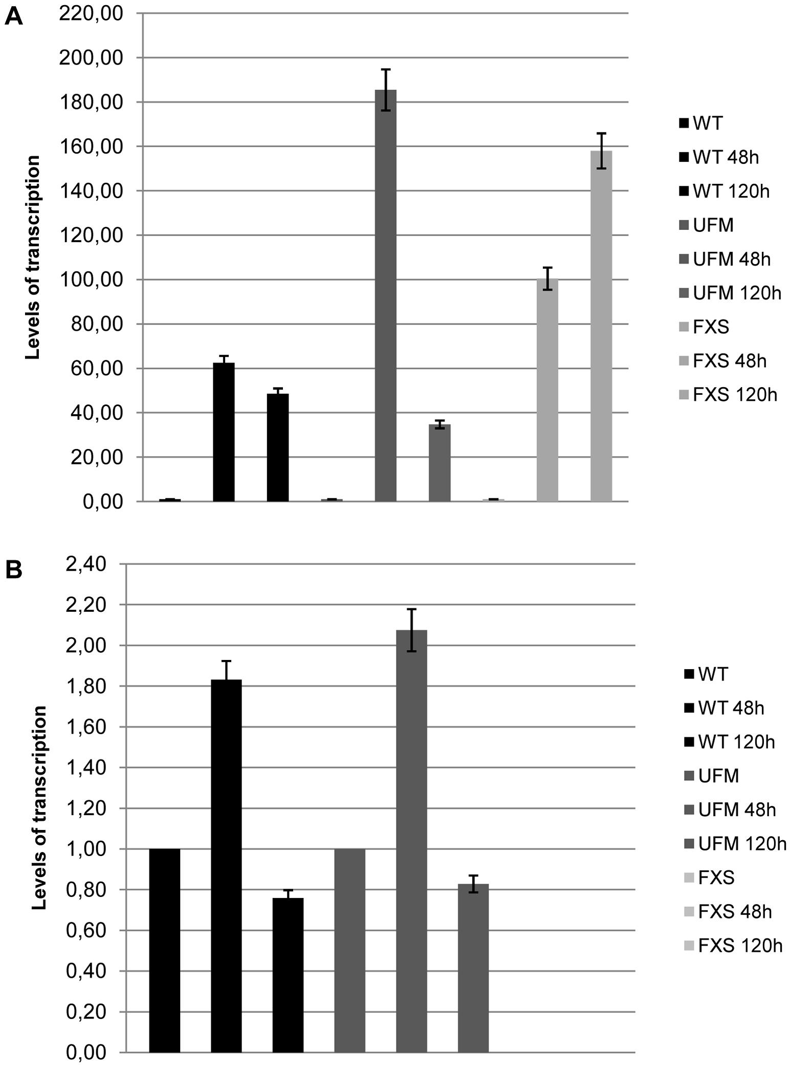 <i>CTCF</i> overexpression in WT, UFM and FXS fibroblasts.
