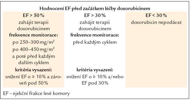 Doporučení monitorace při terapii doxorubicinem [20].