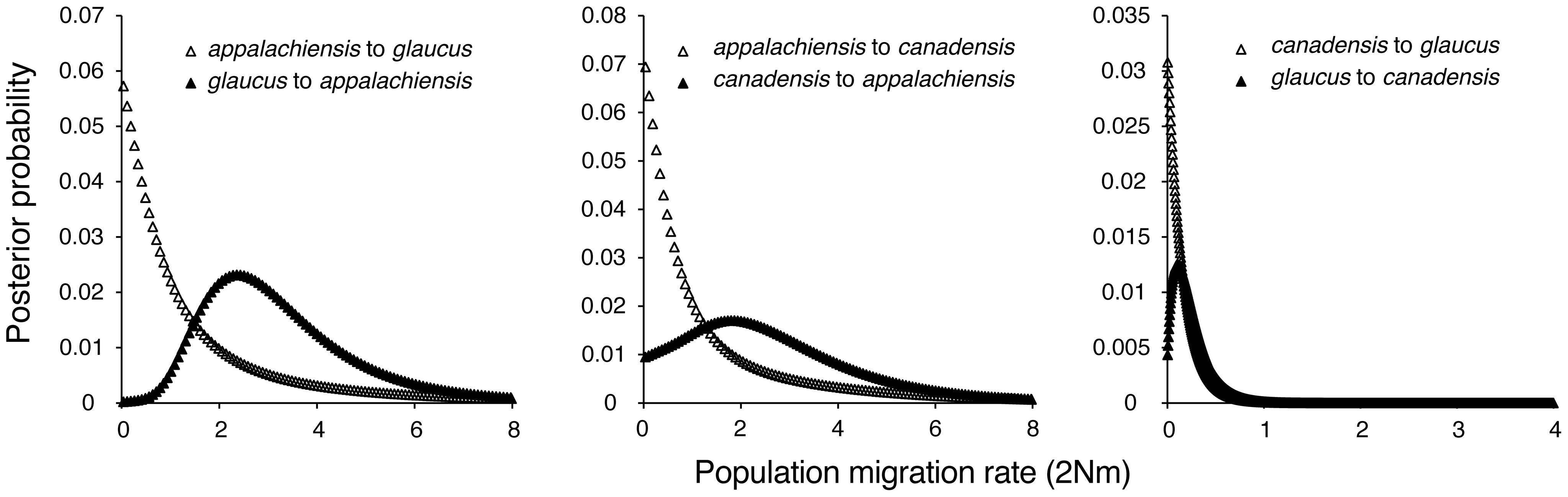 Estimated gene flow among <i>appalachiensis</i>, <i>glaucus</i>, and <i>canadensis</i>.