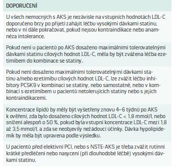 Doporučení pro hypolipidemickou léčbu u pacientů s akutními koronárními syndromy a podstupujícími perkutánní koronární intervence