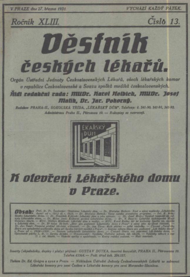 Dobové číslo Věstníku českých lékařů z roku 1931 věnované otevření Lékařského domu v Praze.