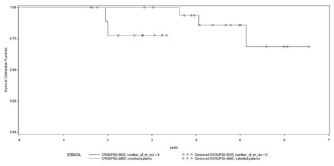 Kaplan-Meierovy křivky přežití bez recidivy, podskupina pacientů s pT1 G3 nádory; modrá křivka – BCG, červená křivka – MMC; log-rank p= 0,0394 Graph 3. Kaplan-Meier survival curves without recurrence, a subgroup of patients with pT1 G3 tumors; the blue curve - BCGred curve – MMC; log-rank p = 0.0394