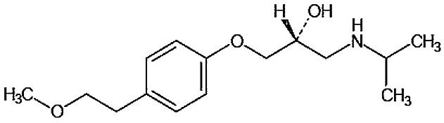 Chemický vzorec metoprololu
