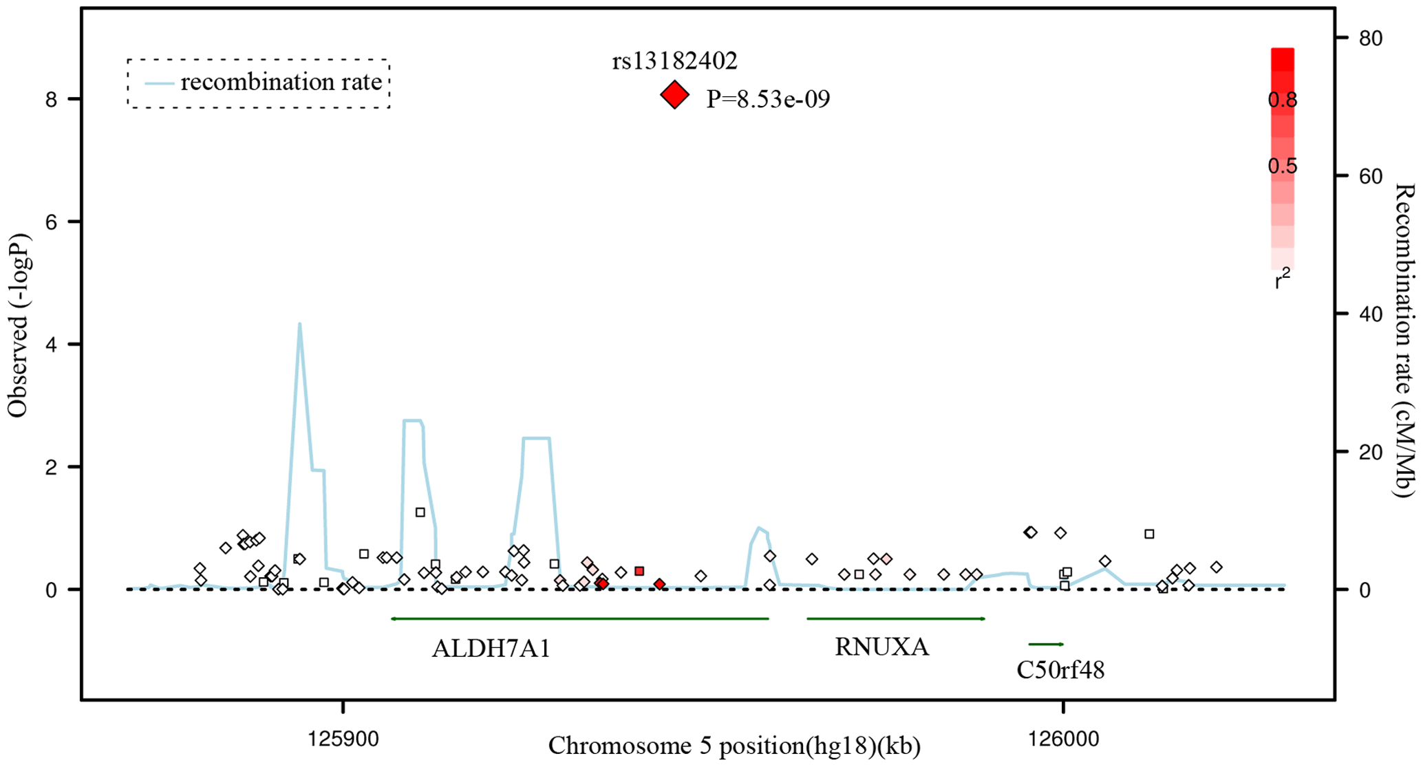 Regional Association Plot for rs13182402 on chromosome 5 in the GWAS stage.