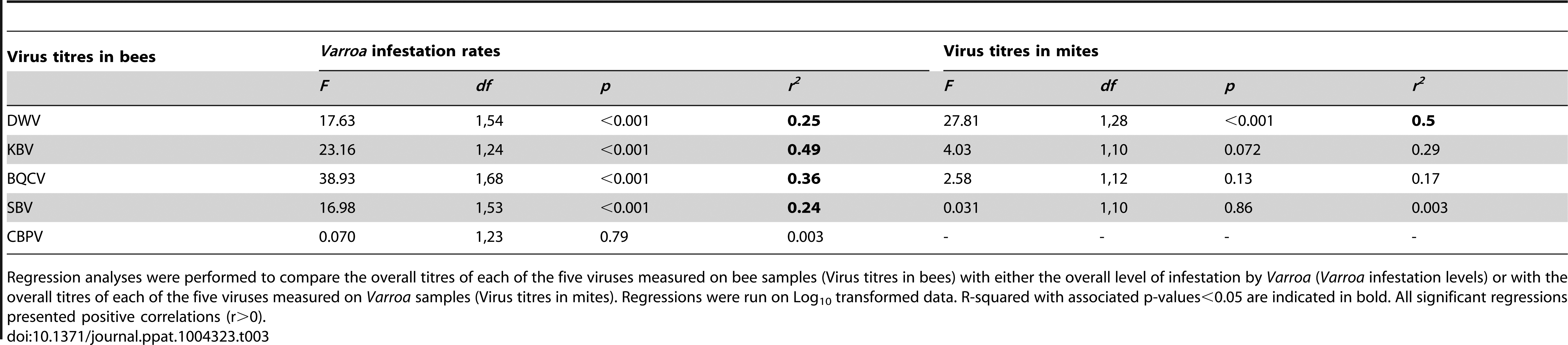Results of the regression analyses.