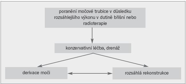 Algoritmus pro léčbu striktury, k níž došlo při rozsáhlejším výkonu v dutině břišní nebo radioterapii.