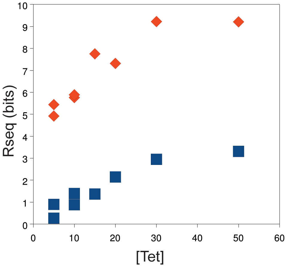 Population information content increases as a function of tetracycline concentration.