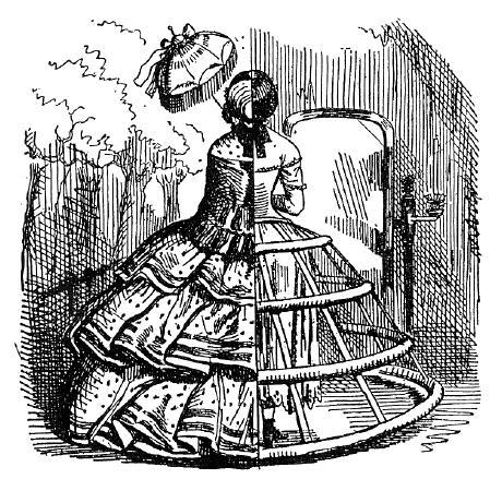 Rozměrná sukně podepřená krinolínou