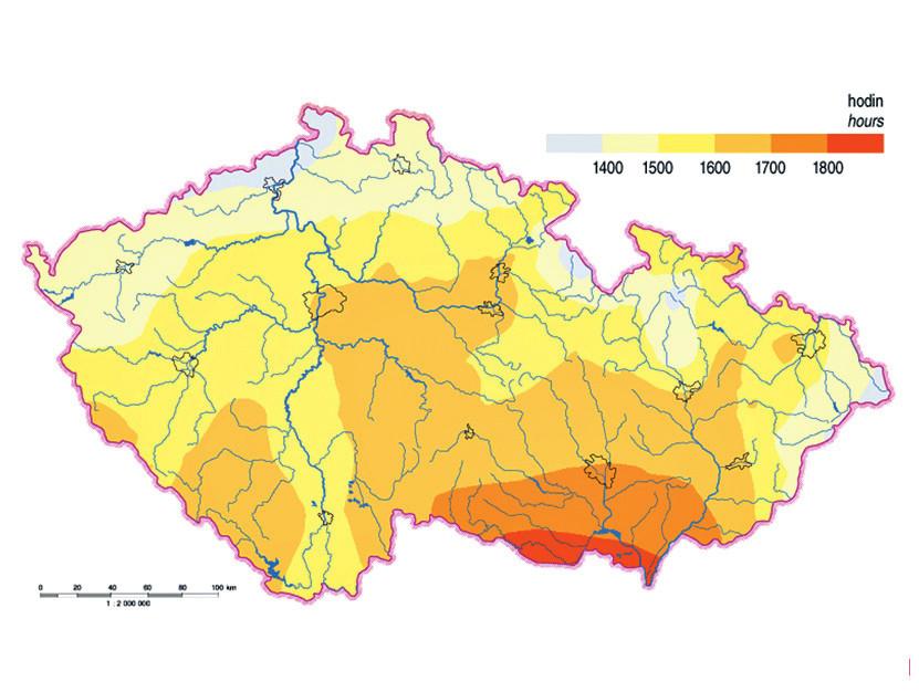 Mapa trvání slunečního svitu v ročním úhrnu www.isofenenergy.cz/Slunecni-zareni-v-CR.aspx