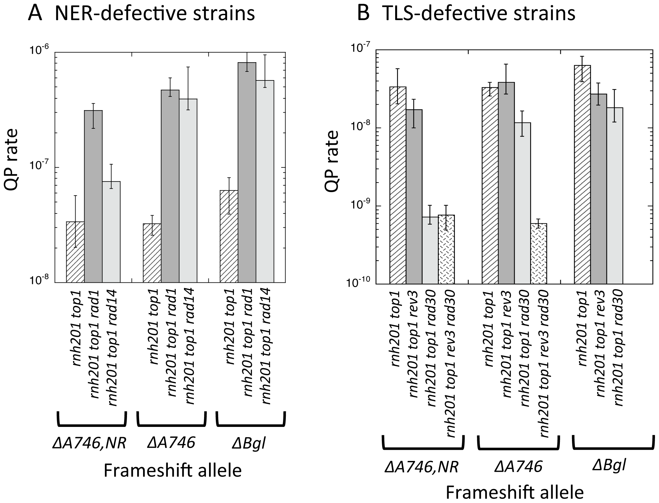 Rates of QP mutations and tandem-repeat deletions at hotspots in NER- or TLS-defective strains.