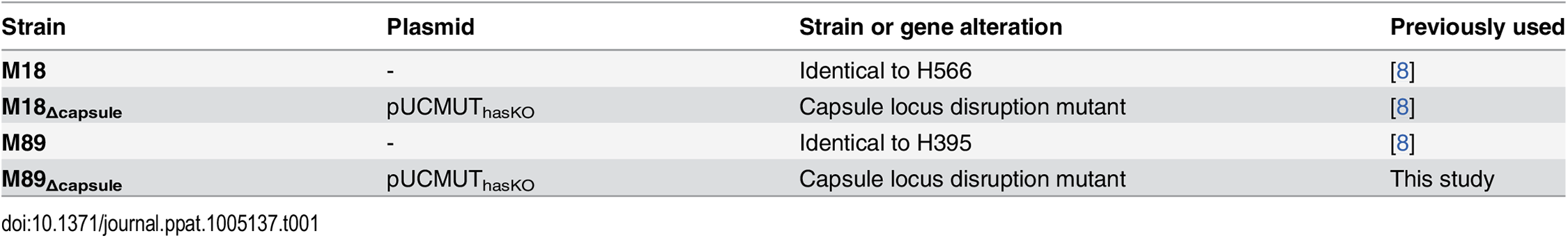 Bacterial strains used in this study.
