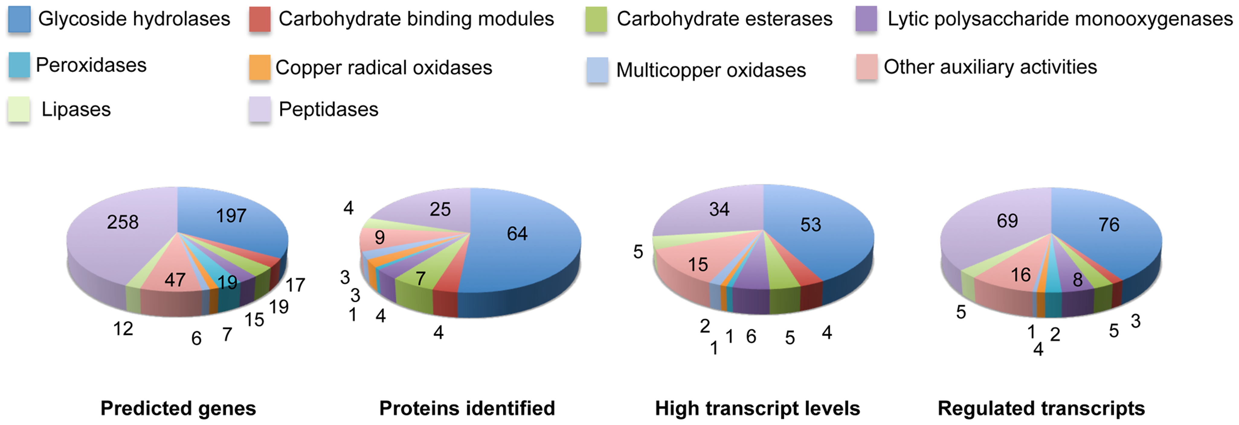 Number and expression of genes likely involved in lignocellulose degradation.