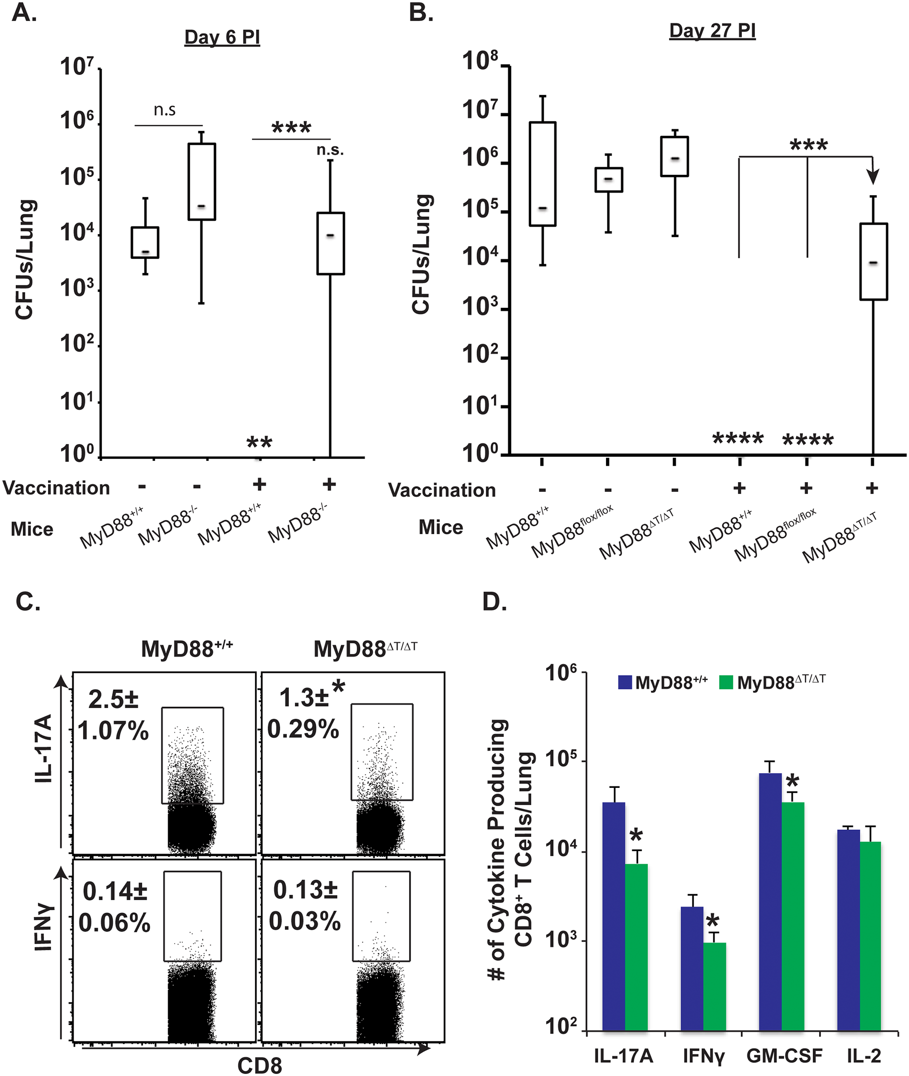 Intrinsic MyD88 signaling in CD8 T cells is required for vaccine immunity.