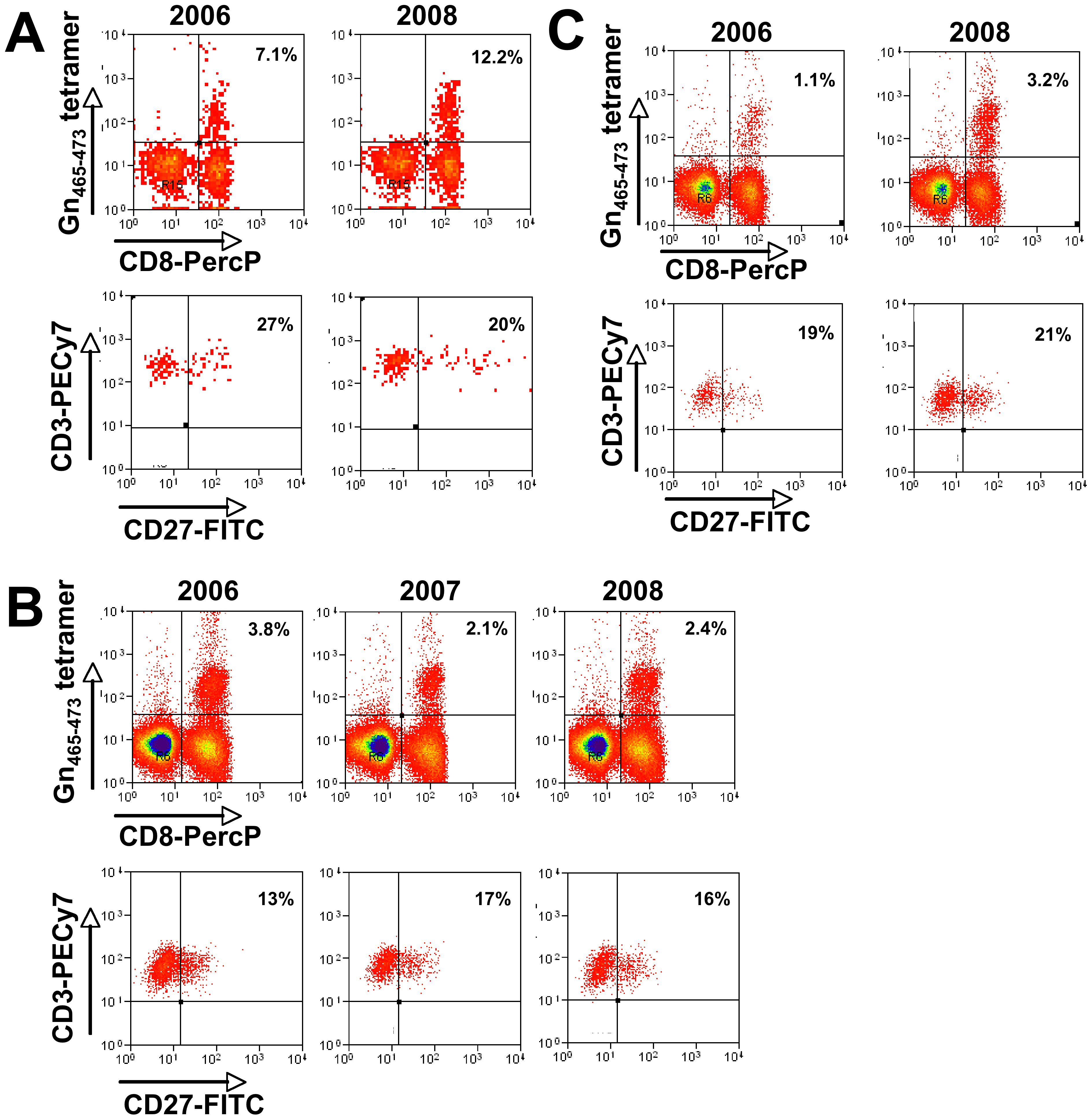 Prospective analysis of Gn<sub>465–473</sub>–specific T cells in three HLA-B*3501<sup>+</sup> individuals.