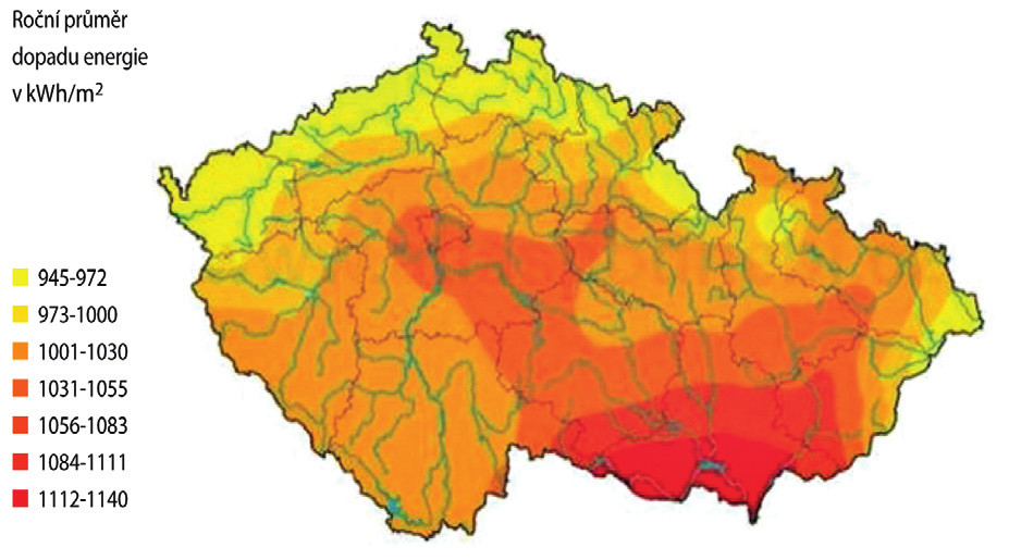 Roční úhrn slunečního záření (www.isofenenergy.cz/Slunecni-zareni-v-CR.aspx)