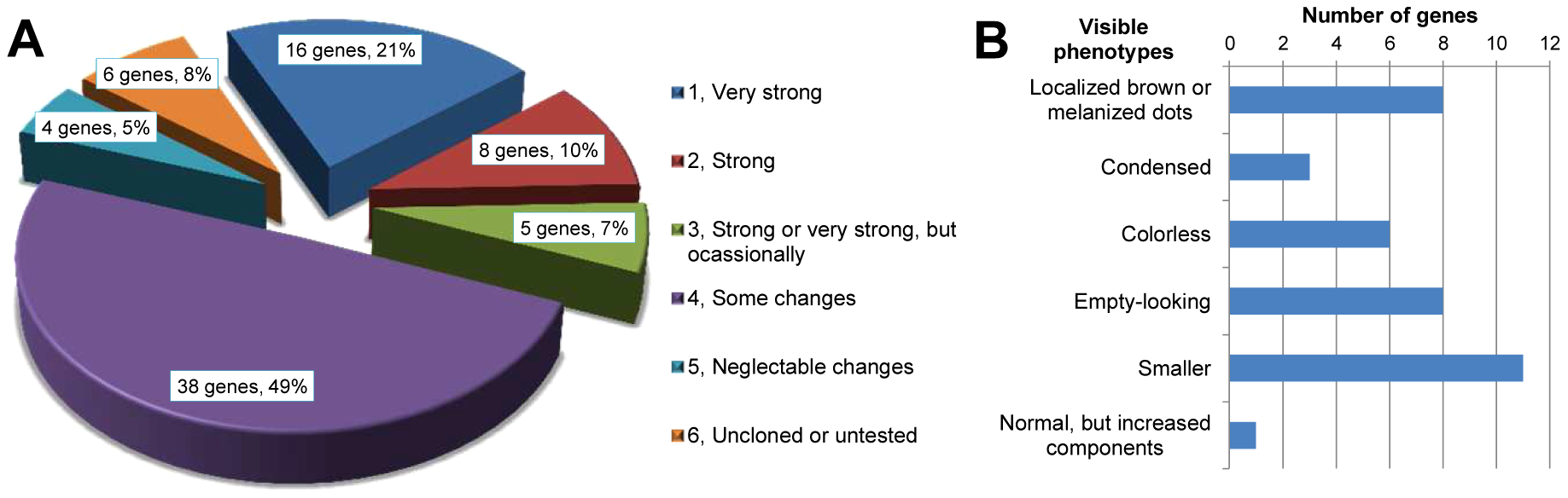 Phenotype classifications of 77 highly gland-specifically expressed genes by RNAi.
