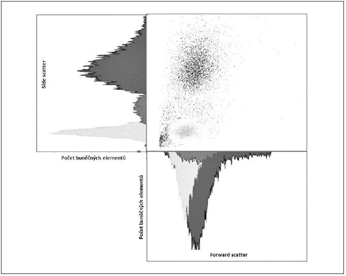 """Ilustrativní ukázka dvoudimenzionální kvantitativní FCM analýzy – """"cell sorting"""""""