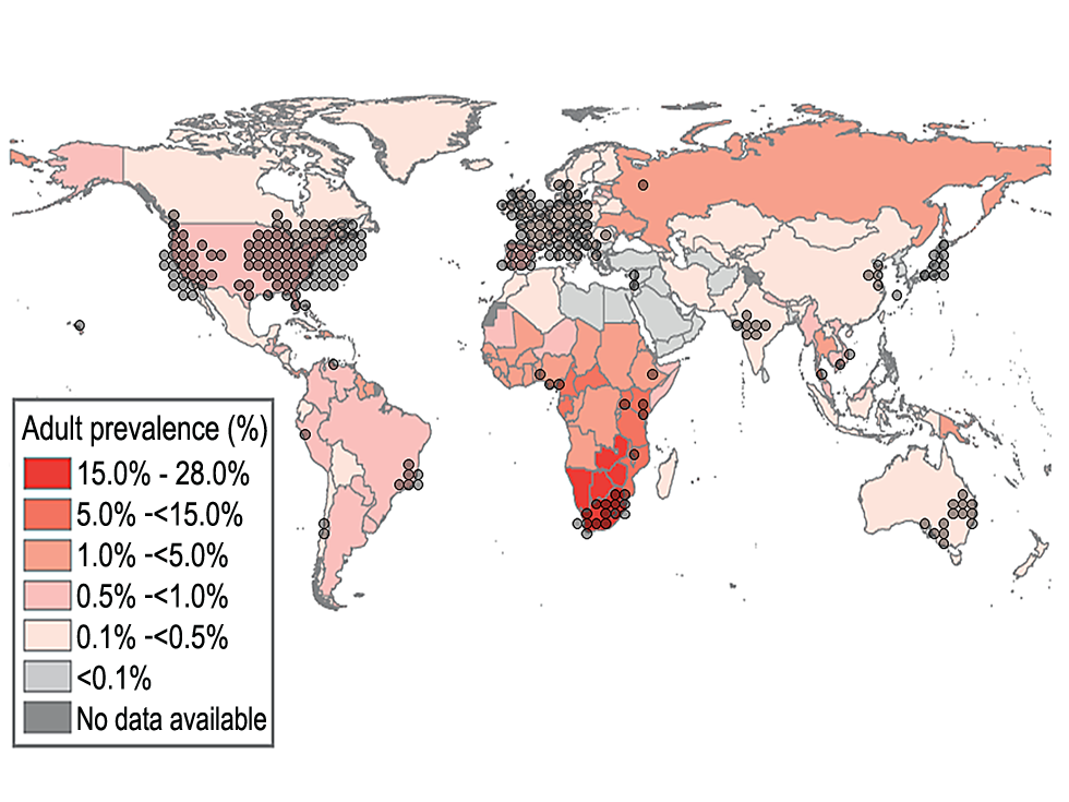 Global HIV prevalence <em class=&quot;ref&quot;>[36]</em> overlaid with 300 PubMed articles (keyword: HIV) published in 2007 on HIV.