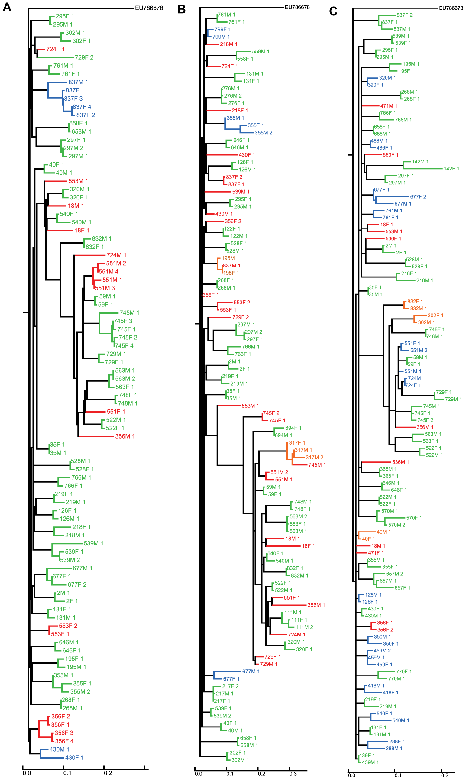 Clustering of sequences from the couples for whom sequence data was available.