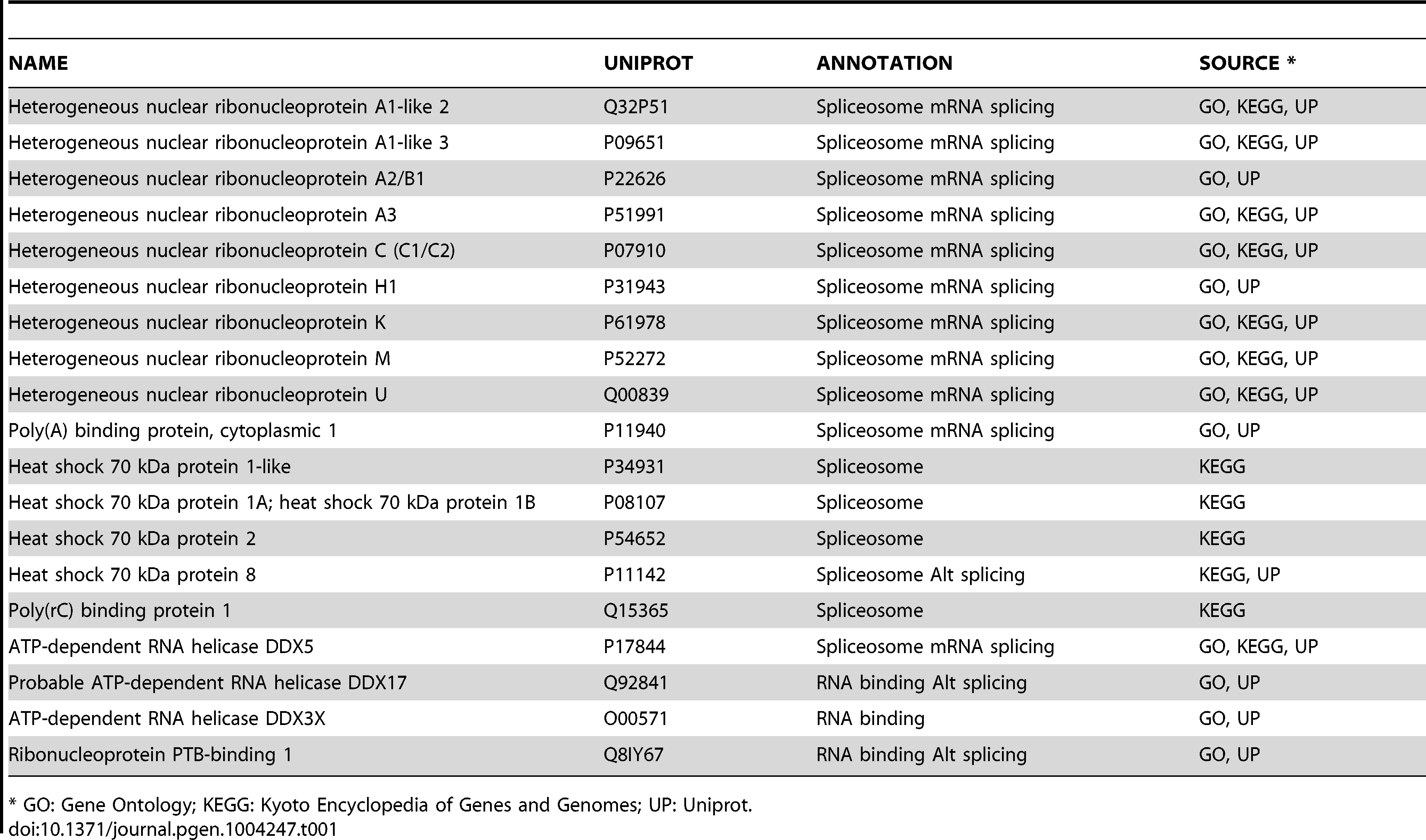 TBX3 interacting proteins involved in mRNA splicing.