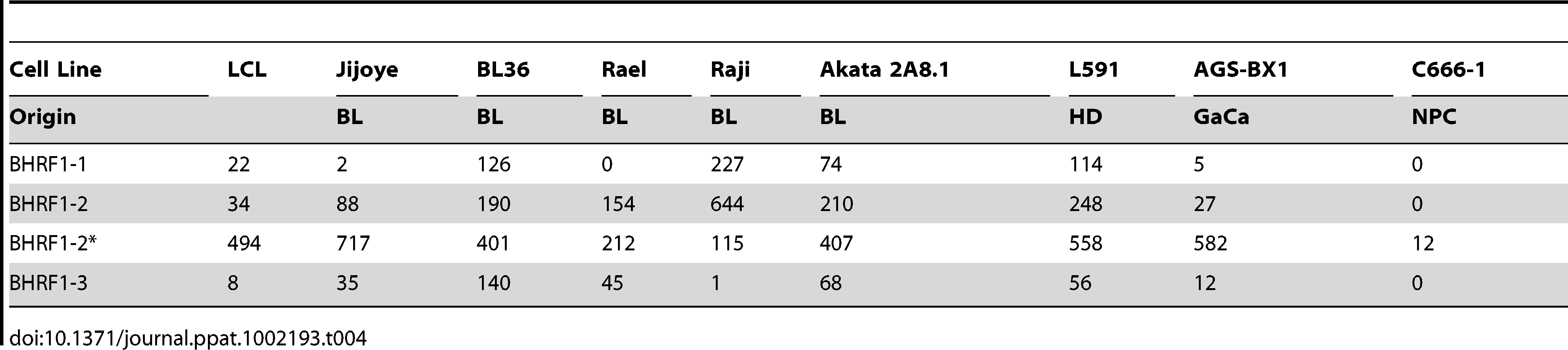 Copy number per cell of EBV BHRF1 miRNAs in cell lines.