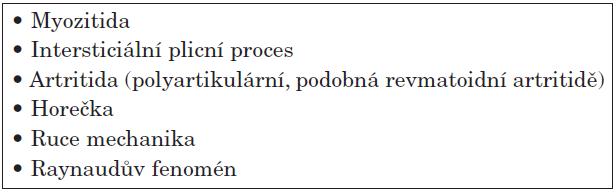 Klinické projevy antisyntetázového syndromu.