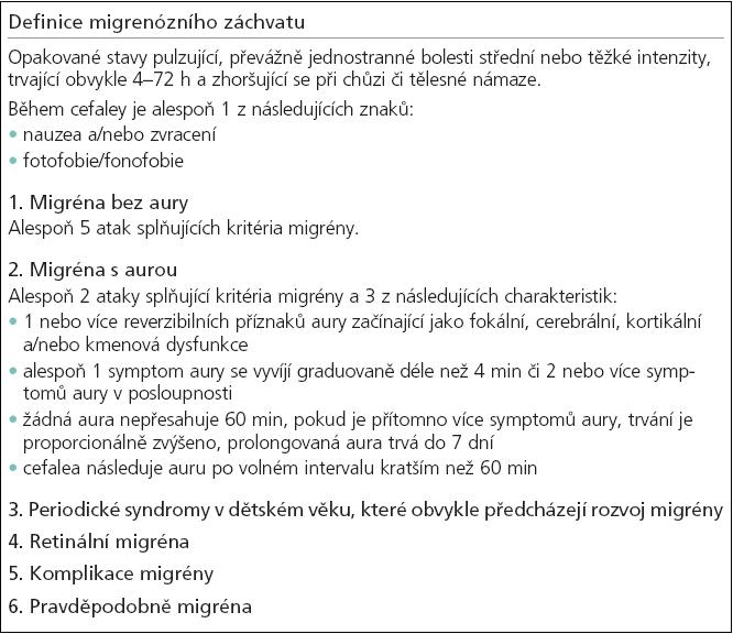 Charakteristické rysy migrenózních záchvatů [1,24].
