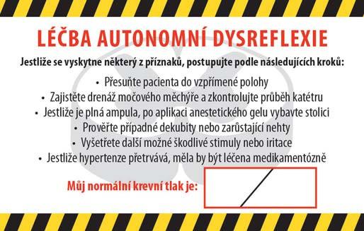 Obr. 2b) Karta pro pacienty (zadní strana).