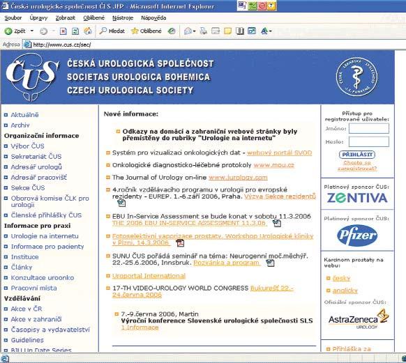 Titulní strana www.cus.cz za heslem.